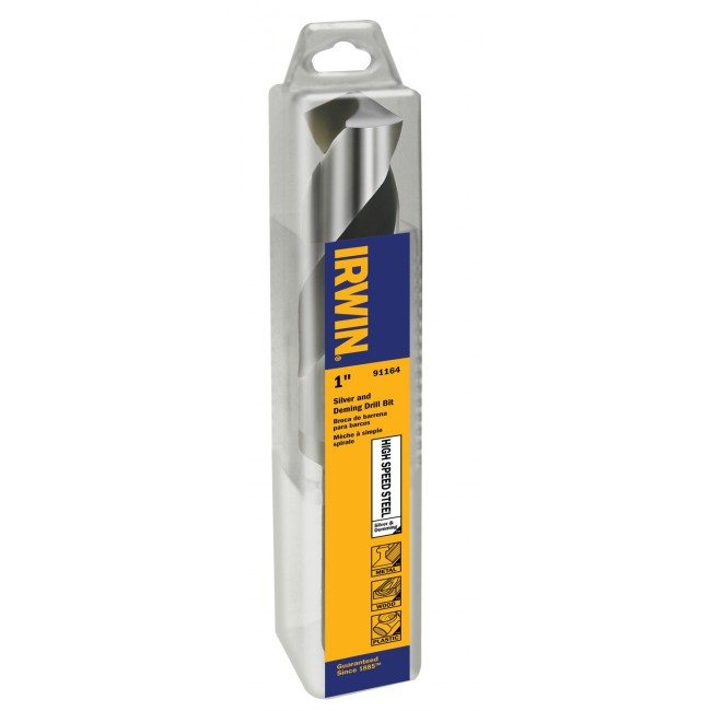 """Irwin 91160 15/16"""" Silver & Deming, 1/2"""" Reduced Shank HSS Drill Bit, Wrench Rating: Superior"""
