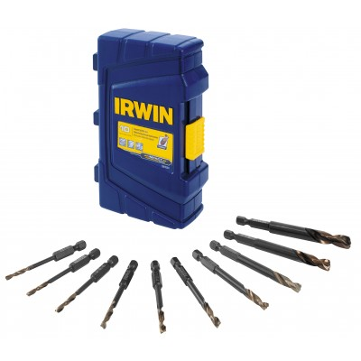 Irwin 1881324 10 PC Turbomax Black and Gold Drill Set w/Case, Wrench Rating: Superior
