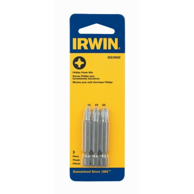 "Irwin 1-15/16"" Philips Head Power Bit Set 3 Count 3521993C"