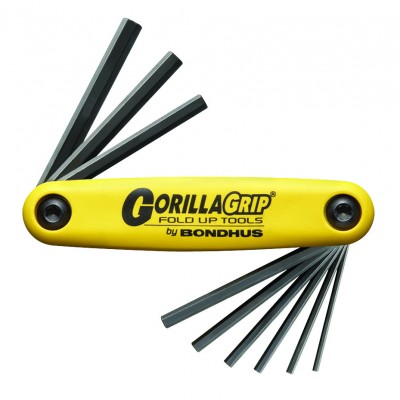 Bondhus Set 9 Hex GorillaGrip Fold-up Tools 5/64-1/4""