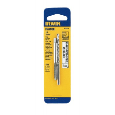 IRWIN-HANSON TAP + DRILL BIT SET 10-24 (USS National Course-High Carbon Steel) Tap + #25 (High Strength Steel) Drill Bit 80220