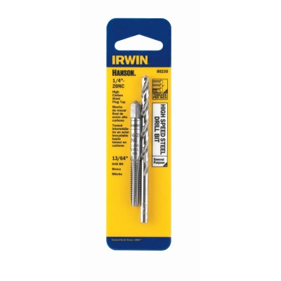 "IRWIN-HANSON TAP + DRILL BIT SET 1/4""-20 (USS National Course-High Carbon Steel) Tap + 13/64 (High Strength Steel) Drill Bit 80230"