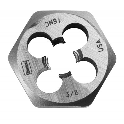 "IRWIN-HANSON DIE 3/8""-16 (USS National Course-High Carbon Steel), 1"" Hexagon Fractional Die 9434"