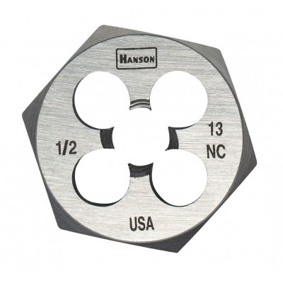 "IRWIN-HANSON DIE 7/16""-14 (USS National Course-High Carbon Steel), 1"" Hexagon Fractional Die 9439"