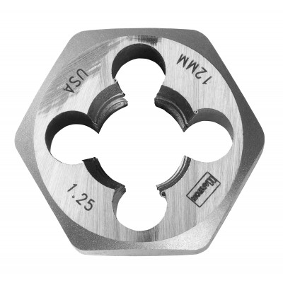 "IRWIN-HANSON DIE 12mm-1.25 (High Carbon Steel), 1"" Hexagon Metric Die 9742"