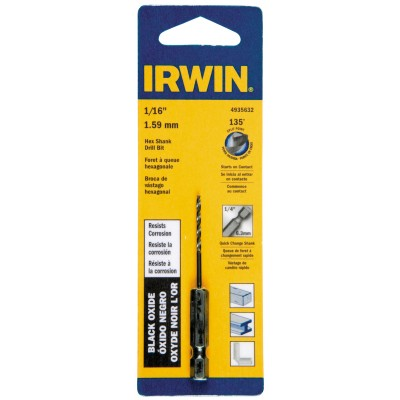 """Irwin 4935632 1/16"""" Black Oxide Hex Shank Drill Bit, Wrench Rating: Better"""