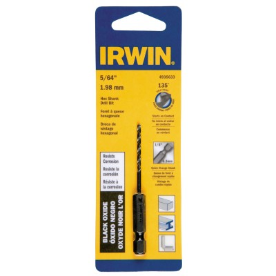 "Irwin 4935633 5/64"" Black Oxide Hex Shank Drill Bit, Wrench Rating: Better"