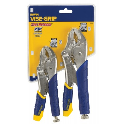 Irwin Tools VISE-GRIP Locking Pliers, Fast Release, 2-Piece Set (214T) 10WR 7WR Comfort Grip