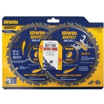 "IRWIN 7 1/4"" 24T 1856800 BOGO Marathon-WeldTec Carbide (Buy 1-Give 1)  Circular Saw Blade-Wrench Rating: Excellent"