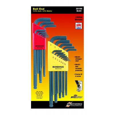"Bondhus Set 22 Ball End L-Wrenches IN/MM Double Pack - 10937 (.050-3/8"") + 10999 (1.5-10mm)"