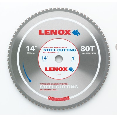 """LENOX 14"""" x 80T 21891ST140080CT Steel-Metal Cutting Circular Saw Blade-Wrench Rating: Superior"""