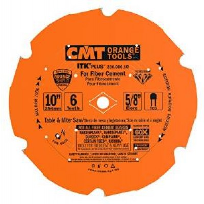 "CMT Contractor ITK-Plus 10"" x 6T x 5/8"" 236.006.10 Diamond Fiber Cement Circular Saw Wrench Rating: Better"