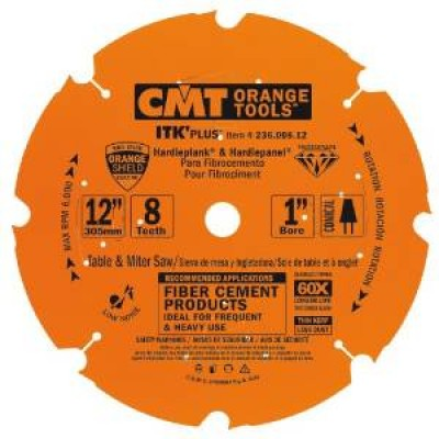 "CMT Contractor ITK-PLUS 12"" x 8T x 1"" 236.008.12 Diamond Fiber Cement Circular Saw Wrench Rating: Better"