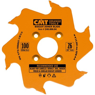 CMT BISCUIT JOINER BLADES: 4-Inch Diameter x 6 Teeth, PTFE-Coated. 240.006.04