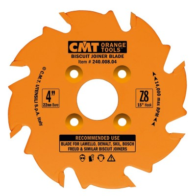CMT BISCUIT JOINER BLADES: 4-Inch Diameter x 8 Teeth, PTFE-Coated. 240.008.04