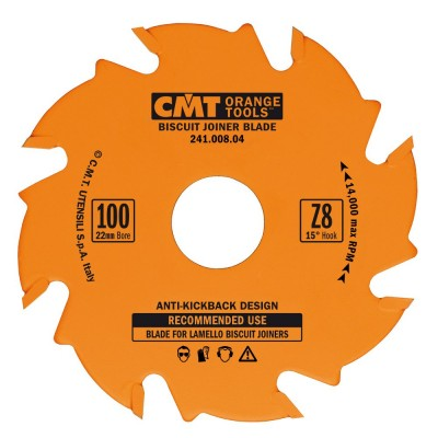 CMT BISCUIT JOINER BLADES:  4-Inch Diameter x 8 Teeth, PTFE-Coated. 241.008.04