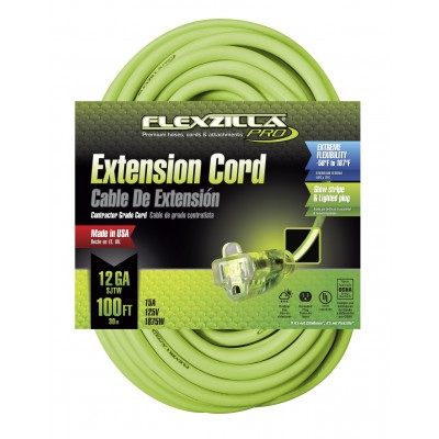 Legacy Flexzilla® 100' 12/3 AWG Pro Lighted Plug Extension Cord, SJTW 727-123100FZL5F