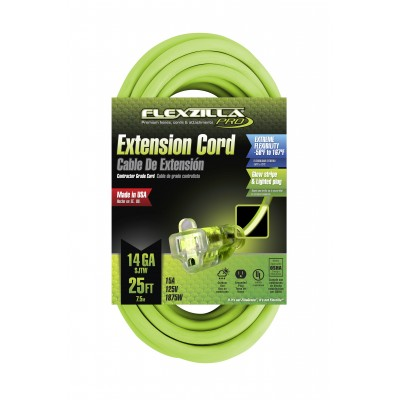 Flexzilla® 25' 14/3 AWG Pro Lighted Plug Extenion Cord, SJTW 727-143025FZL5F Legacy