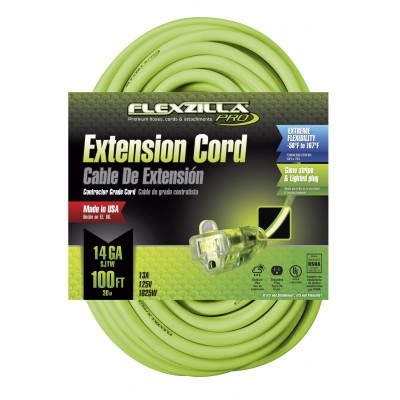 Legacy Flexzilla® 100' 14/3 AWG Pro Lighted Plug Extension Cord, SJTW 727-143050FZL5F