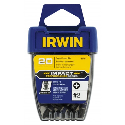 "Irwin #2 Phillips x 1"" OAL Insert Impact Bit (20 pieces) 1837377"