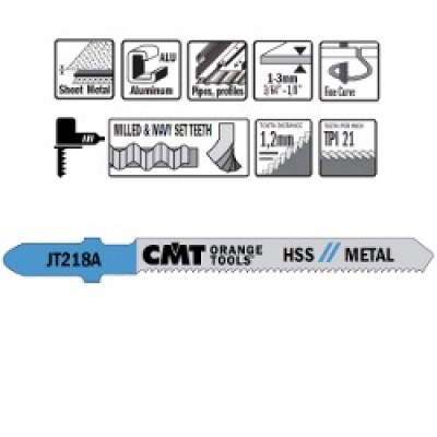 "CMT JIG SAW BLADES: Basic Cut, 3"" L x 21 TPI. (5 Pack). JT218A-5"