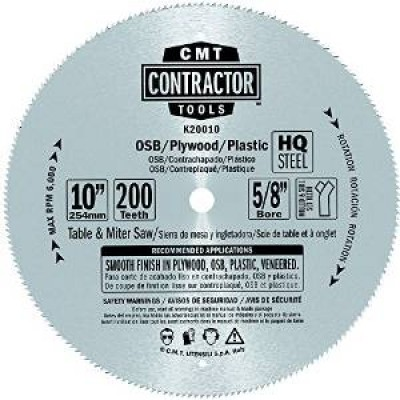 "CMT Contractor ITK 10"" x 200T x 5/8"" K20010 Fine Finish Circular Saw Blade-Wrench Rating: Better"