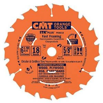 "CMT Contractor ITK-Plus 6-1/2"" x 18T x 5/8"" P06018 Fast Framing Circular Saw Blade-Wrench Rating: Better"