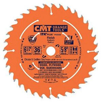"CMT Contractor ITK-Plus 6-1/2"" x 36T x 5/8""  P06036 Finish Circular Saw Blade-Wrench Rating: Better"