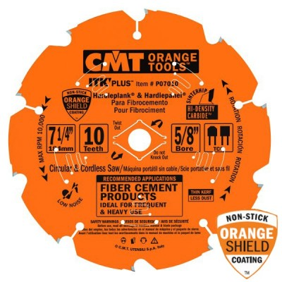 "CMT Contractor ITK-Plus 7 1/4"" x 10T x 5/8""  P07010 Fiber Cement Circular Saw Blade-Wrench Rating: Better"