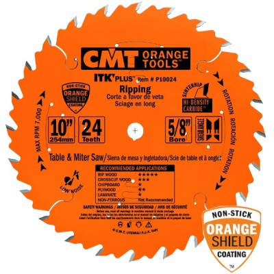 "CMT Contractor ITK-Plus 10"" x 24T x 5/8"" Ripping Blade P10024 Wrench Rating: Better"