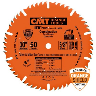 "CMT Contractor ITK-Plus 10"" x 50T x 5/8"" Combination Blade P10050 Wrench Rating: Better"
