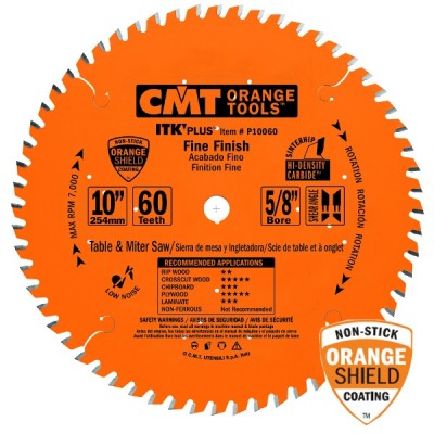"CMT Contractor ITK-Plus 10"" x 60T x 5/8"" Finish Sliding Compound Miter P10060S Wrench Rating: Better"