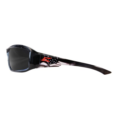 Edge Brazeau Patriot Safety Sunglasses - Black w/ American Flag Frame Polarized TXB216-P1