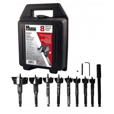 Morse WSFKIT2 8 PC Self Feed Wood Bits Kit w/ Threaded Feed Screw Tip, Wrench Rating: Superior